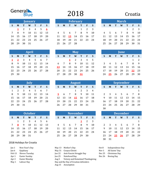 Image of Croatia 2018 Calendar Two-Tone Blue with Holidays
