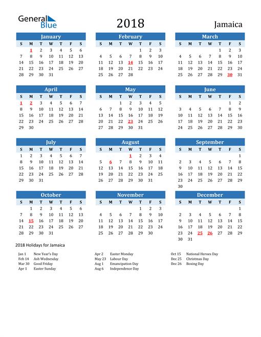 Image of Jamaica 2018 Calendar Two-Tone Blue with Holidays
