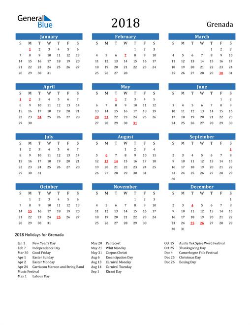 Image of Grenada 2018 Calendar with Holidays