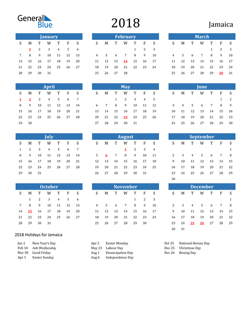 Image of Jamaica 2018 Calendar with Holidays