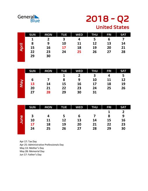 Q2 2018 Calendar with Holidays