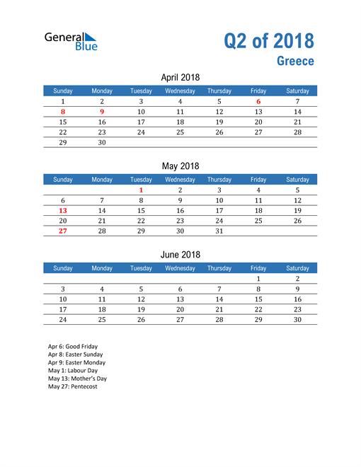 Greece 2018 Quarterly Calendar
