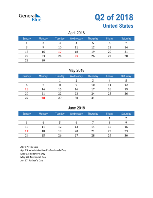 United States 2018 Quarterly Calendar