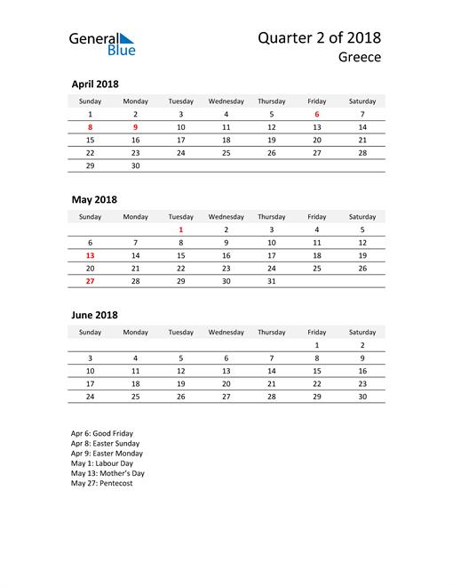 2018 Three-Month Calendar for Greece