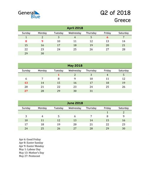 Quarterly Calendar 2018 with Greece Holidays