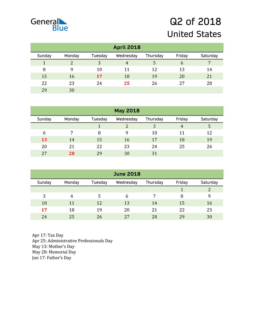 Quarterly Calendar 2018 with United States Holidays
