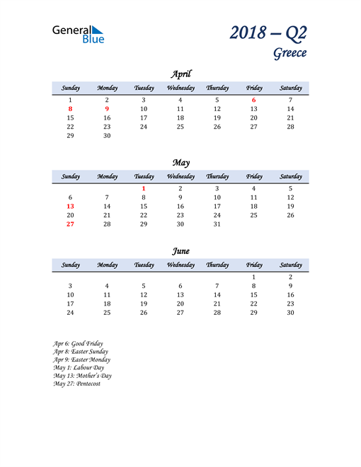 April, May, and June Calendar for Greece