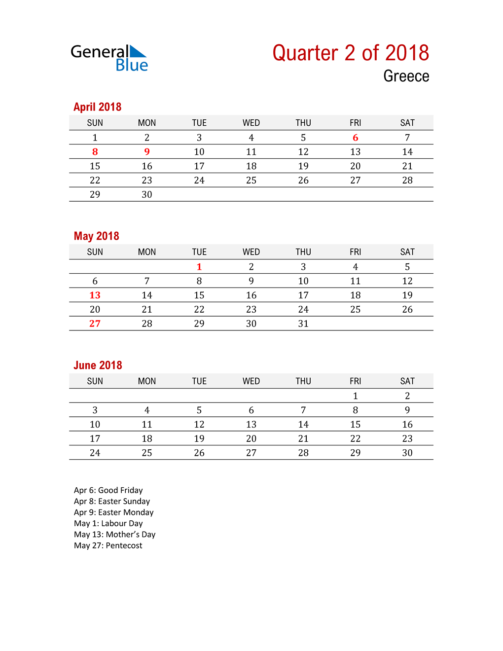 Printable Three Month Calendar for Greece