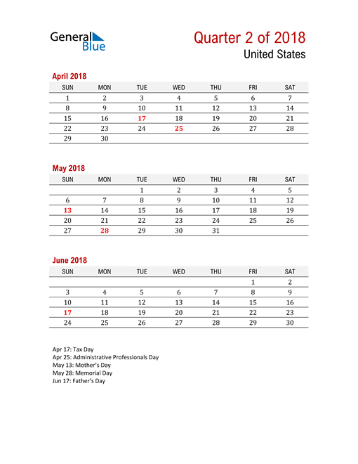 Printable Three Month Calendar for United States