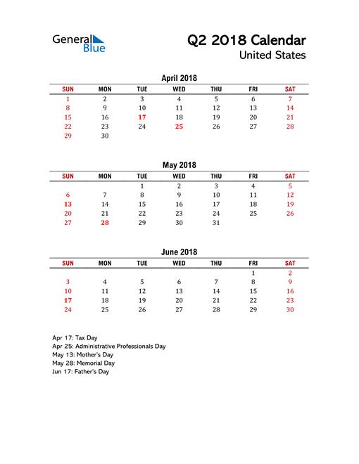 2018 Q2 Calendar with Holidays List