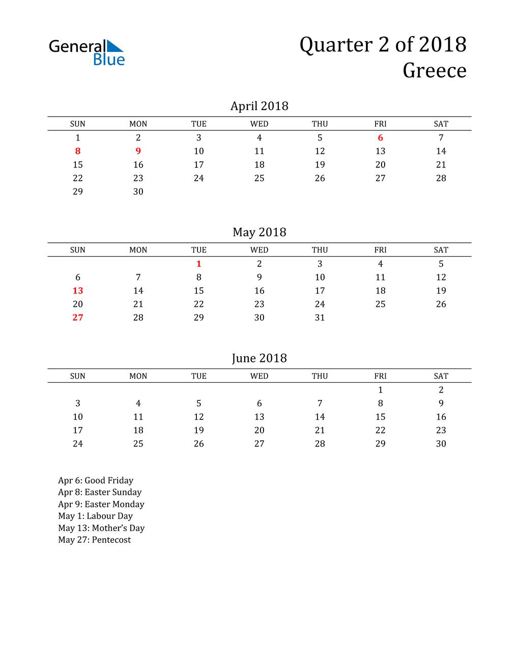 2018 Greece Quarterly Calendar