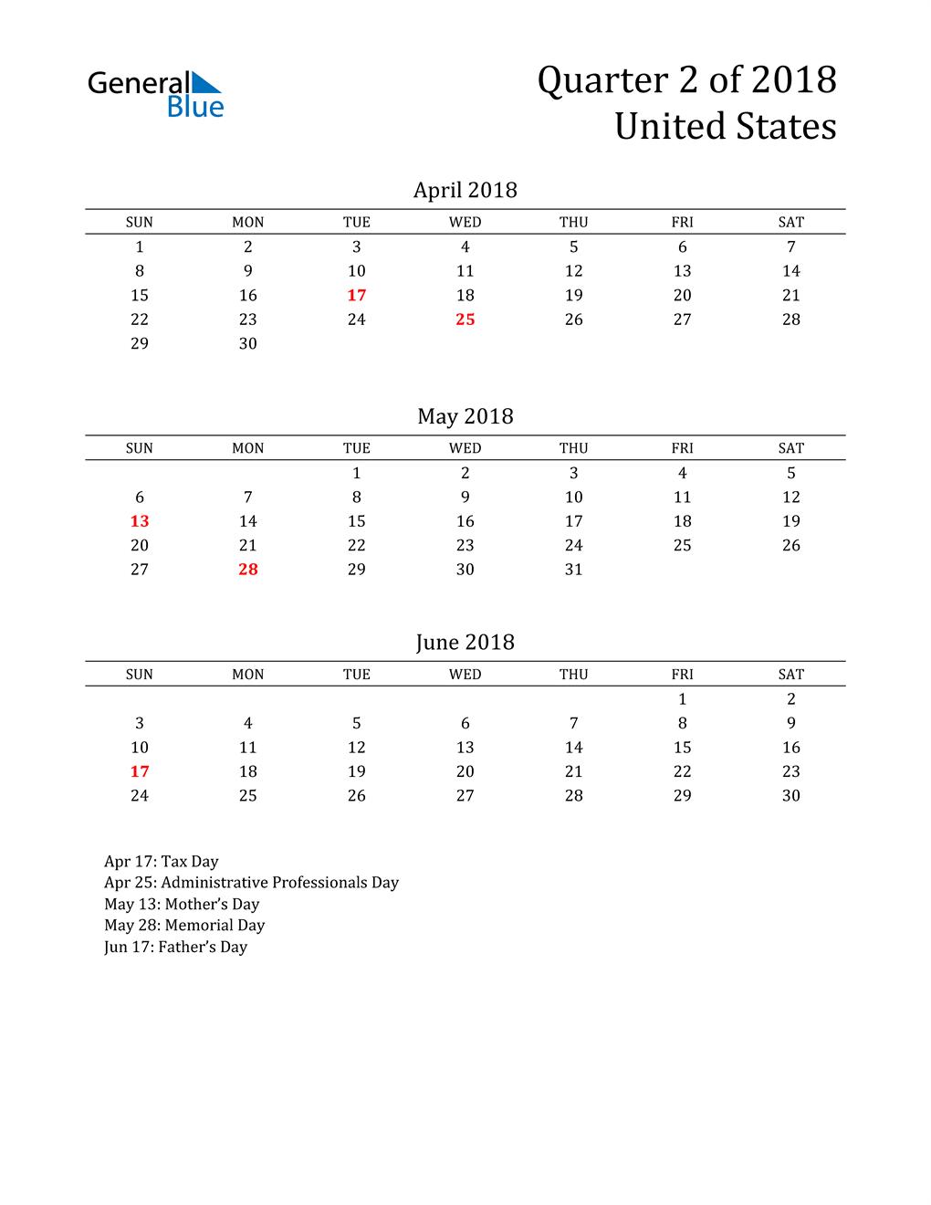 2018 United States Quarterly Calendar
