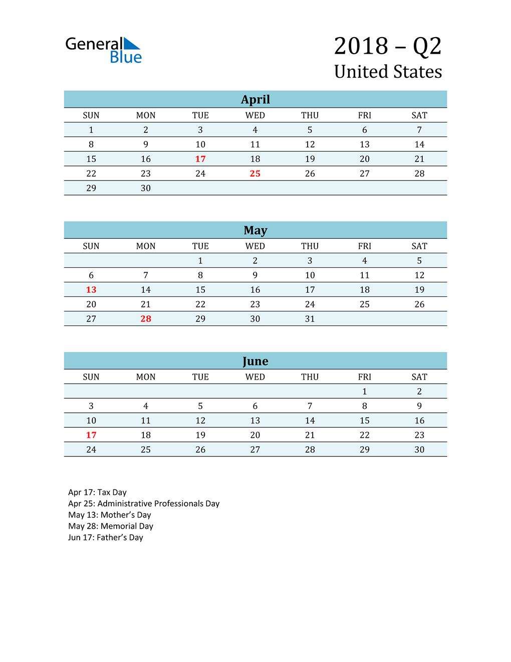 Three-Month Planner for Q2 2018 with Holidays