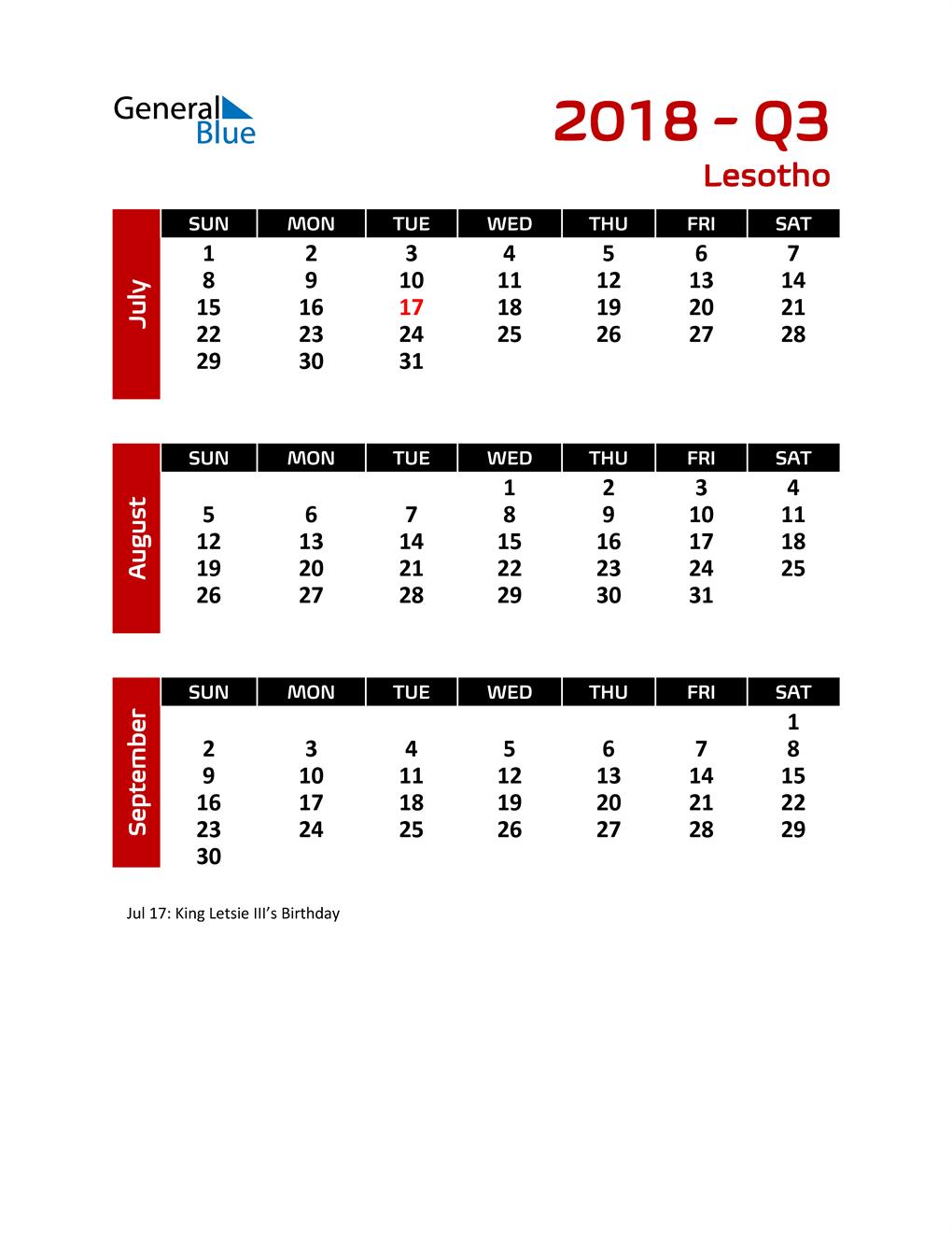 Q3 2018 Calendar with Holidays
