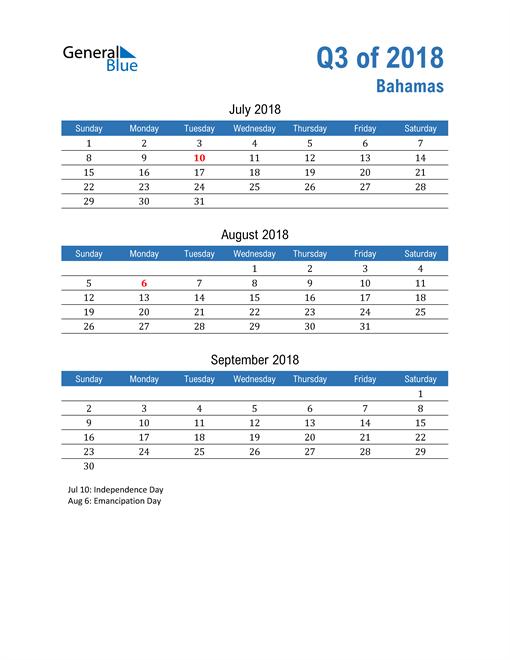 Bahamas 2018 Quarterly Calendar