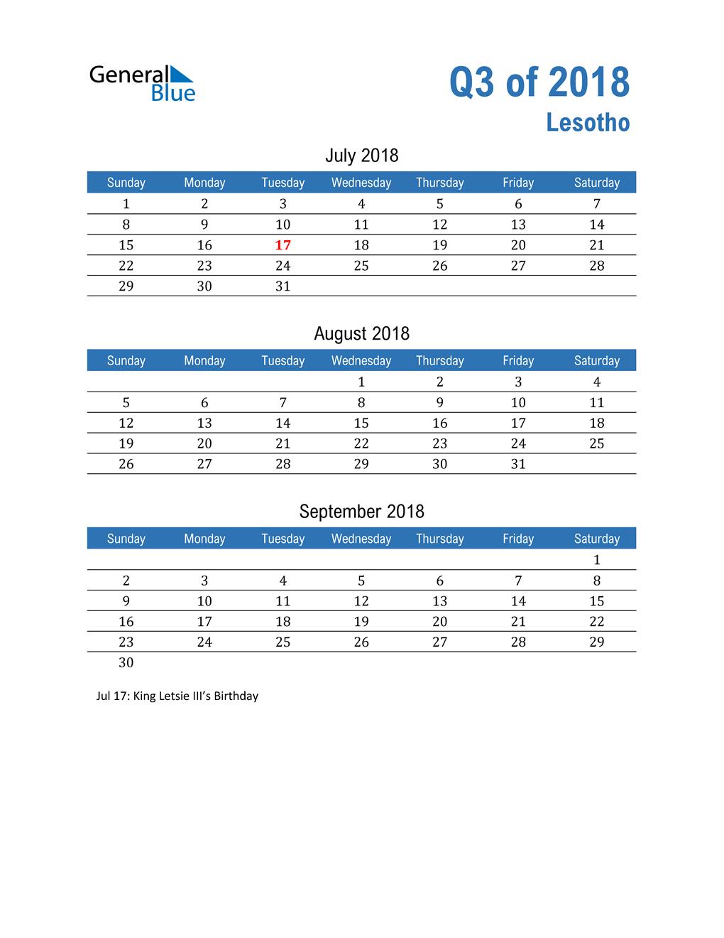 Lesotho 2018 Quarterly Calendar