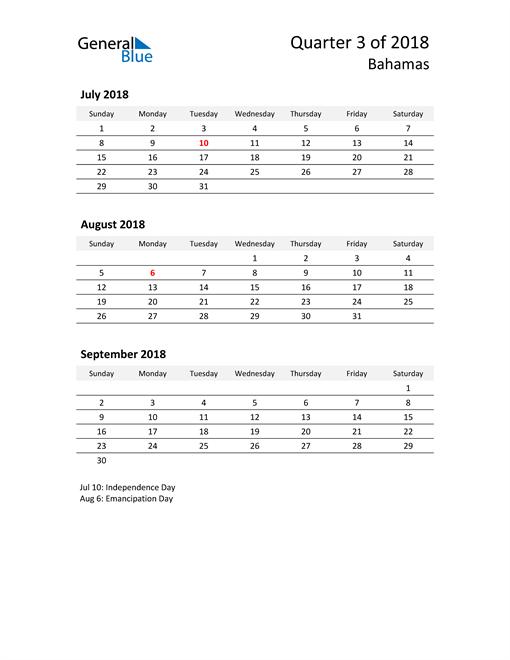 2018 Three-Month Calendar for Bahamas
