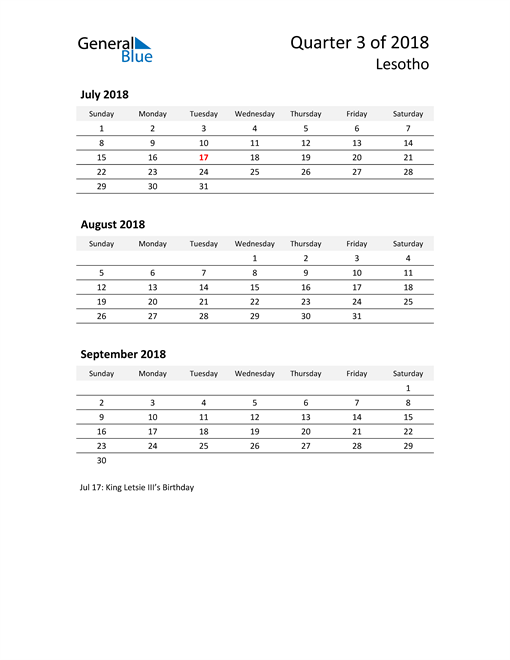 2018 Three-Month Calendar for Lesotho