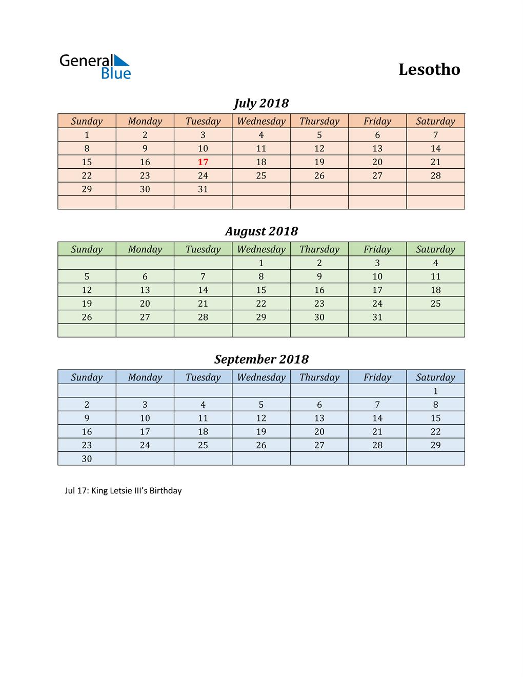 Q3 2018 Holiday Calendar - Lesotho