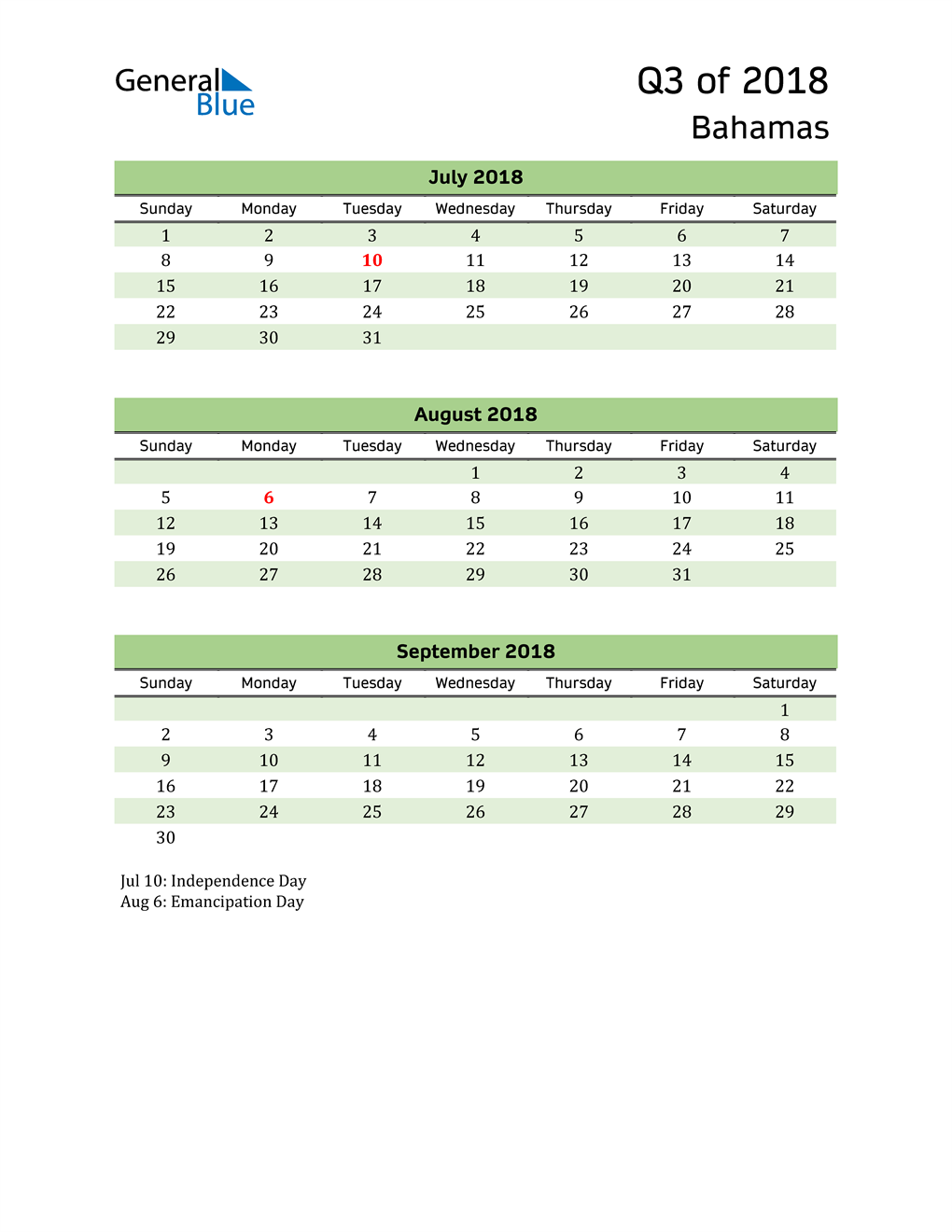 Quarterly Calendar 2018 with Bahamas Holidays