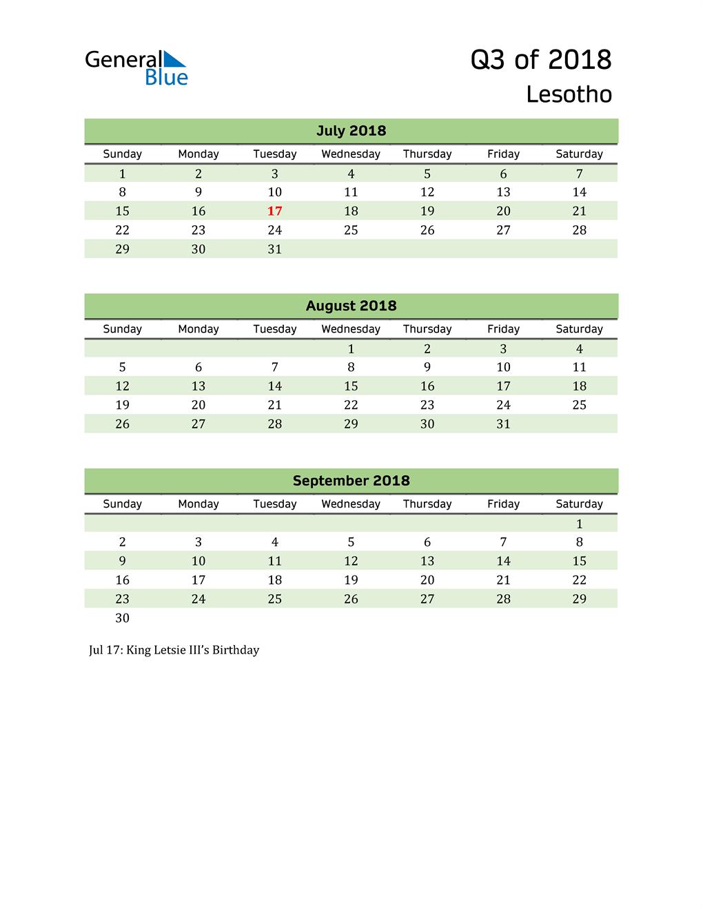 Quarterly Calendar 2018 with Lesotho Holidays