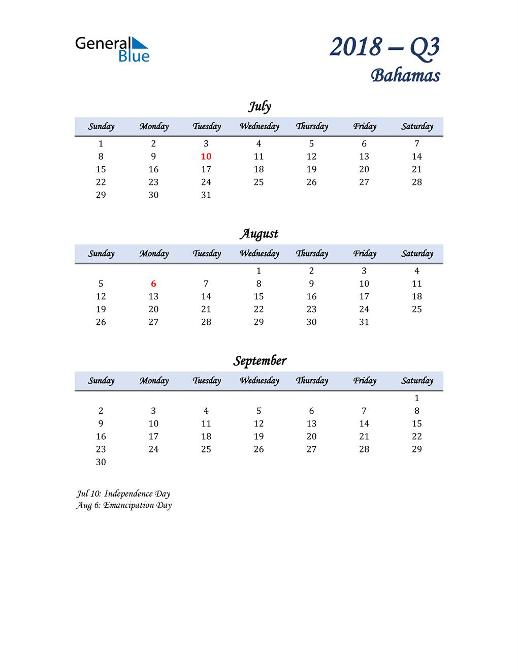 July, August, and September Calendar for Bahamas