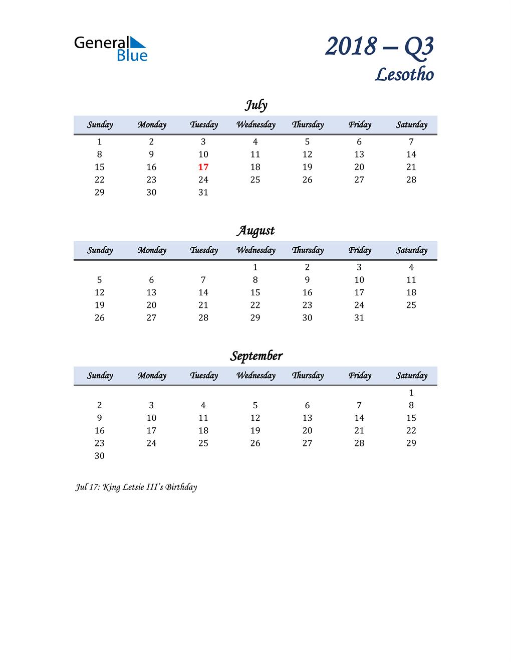 July, August, and September Calendar for Lesotho