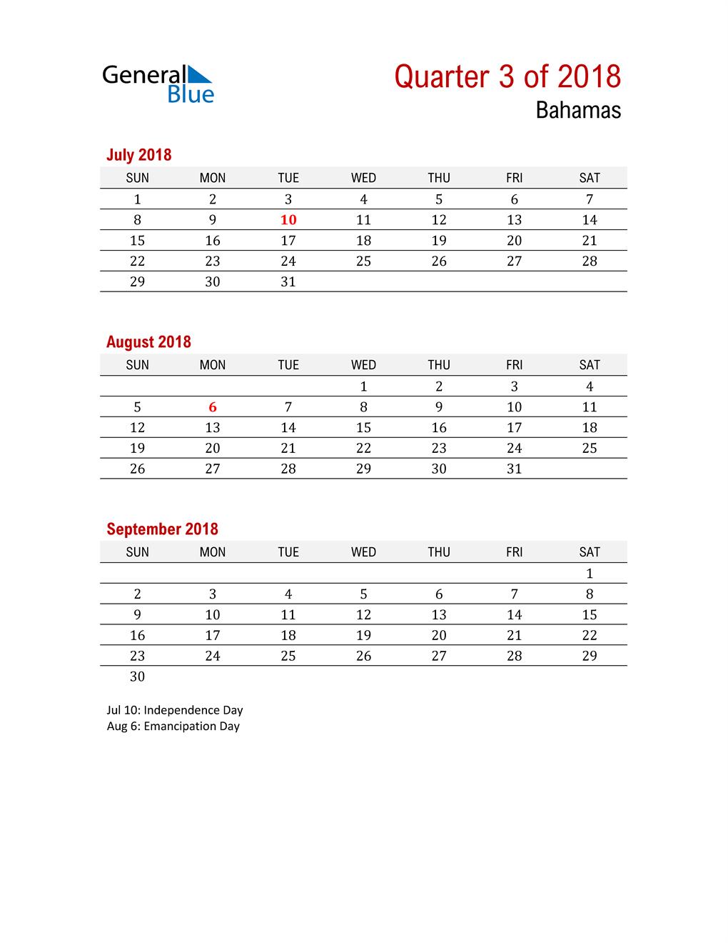 Printable Three Month Calendar for Bahamas