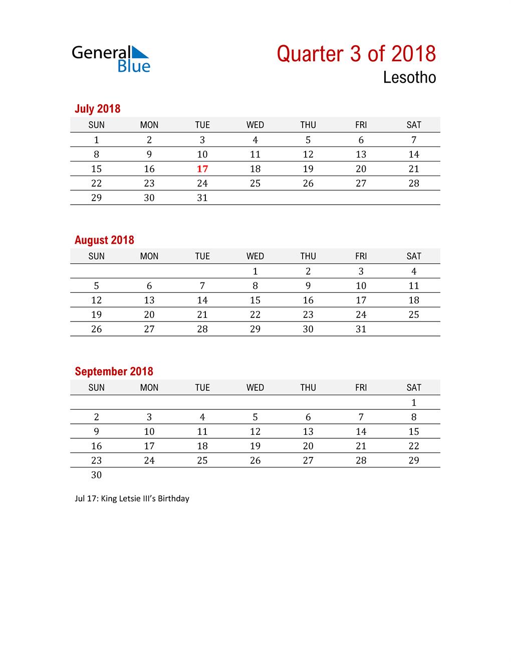 Printable Three Month Calendar for Lesotho