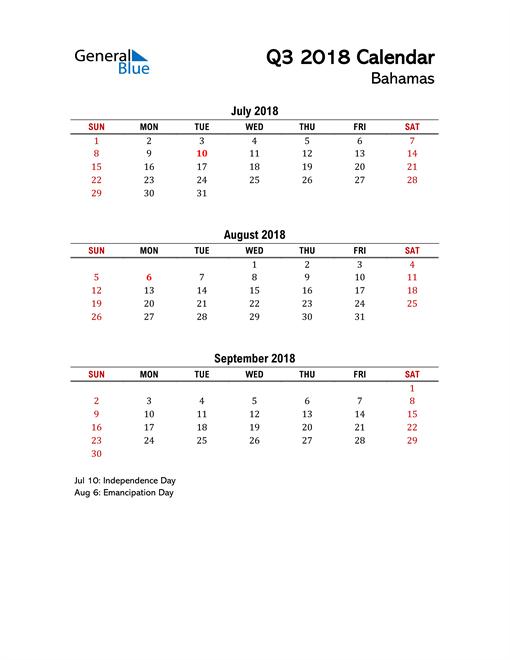 2018 Q3 Calendar with Holidays List