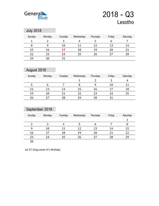 Lesotho Quarter 3 2018 Calendar
