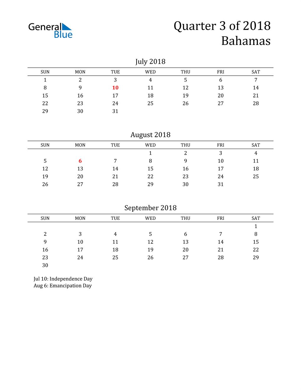 2018 Bahamas Quarterly Calendar