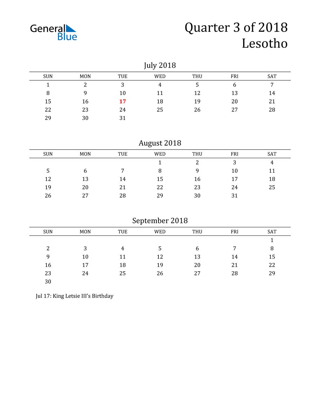 2018 Lesotho Quarterly Calendar