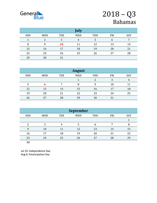 Three-Month Planner for Q3 2018 with Holidays