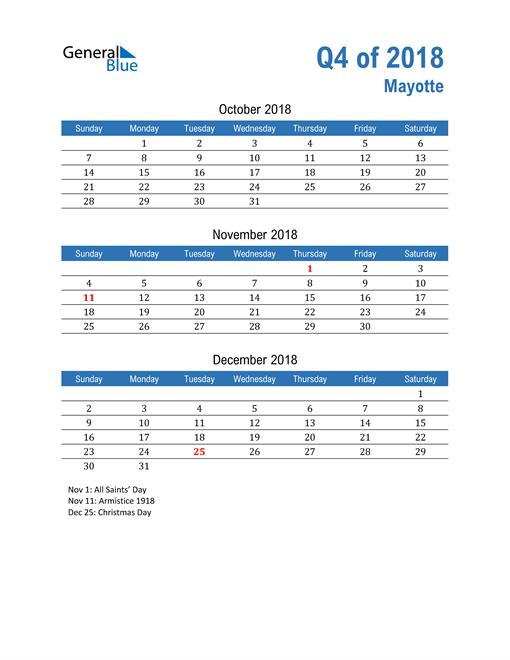 Mayotte 2018 Quarterly Calendar