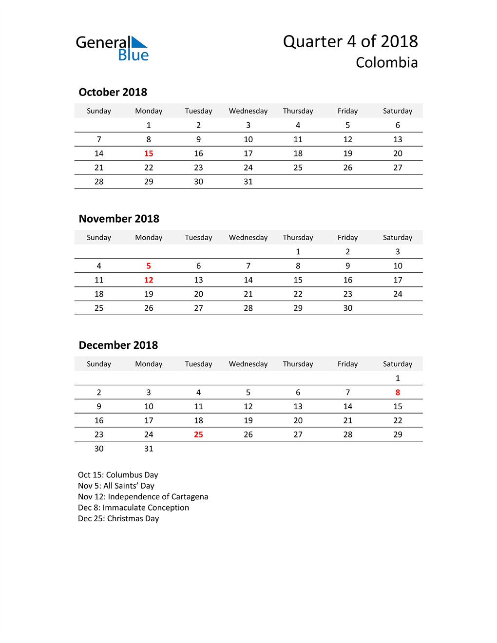 2018 Three-Month Calendar for Colombia