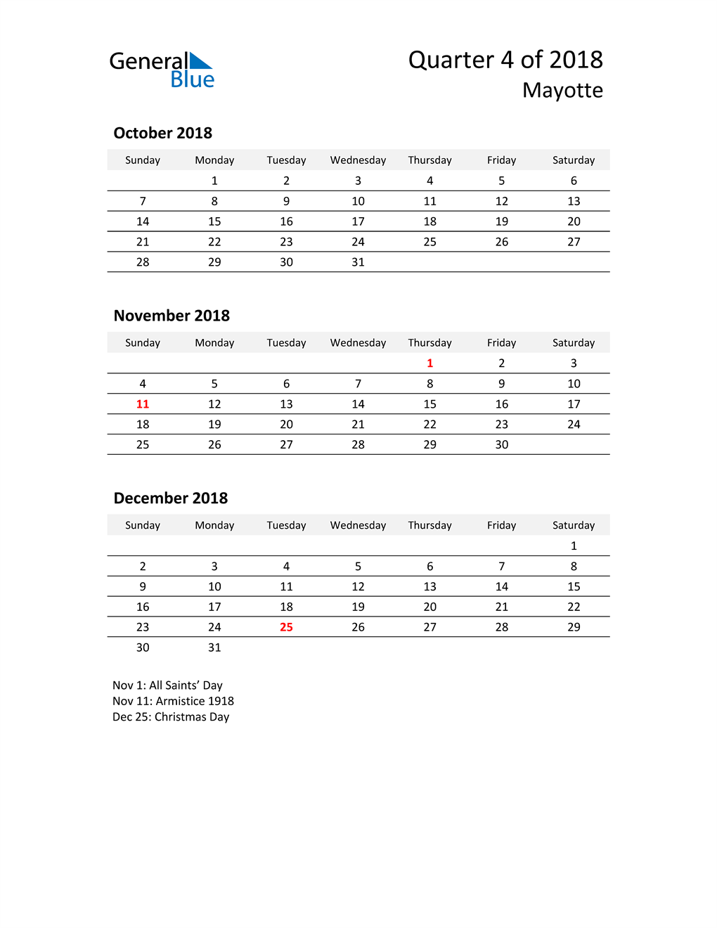 2018 Three-Month Calendar for Mayotte
