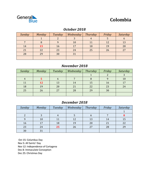 Q4 2018 Holiday Calendar - Colombia