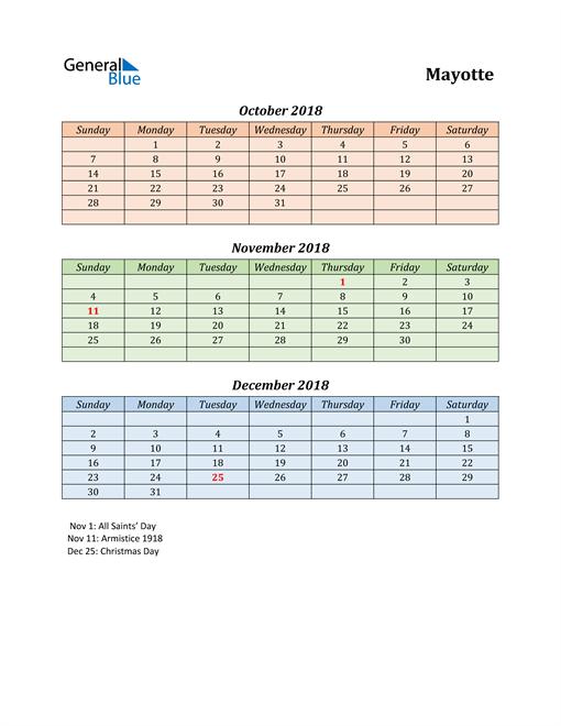 Q4 2018 Holiday Calendar - Mayotte