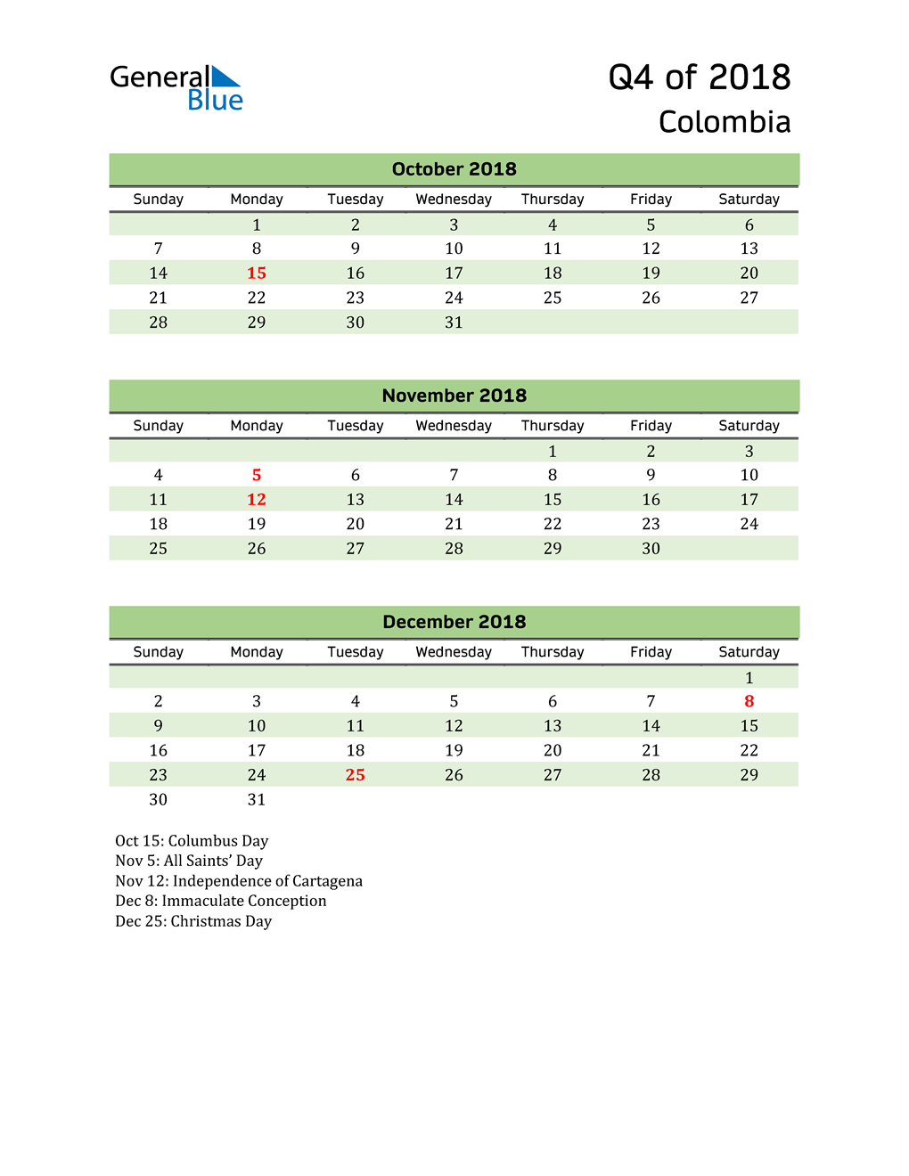 Quarterly Calendar 2018 with Colombia Holidays