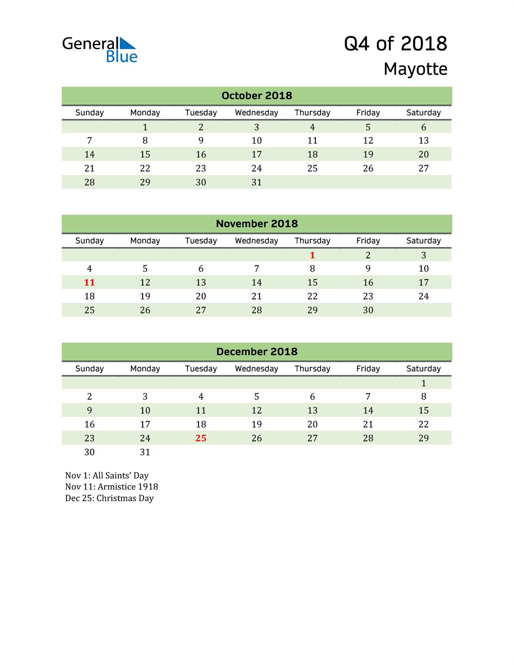 Quarterly Calendar 2018 with Mayotte Holidays
