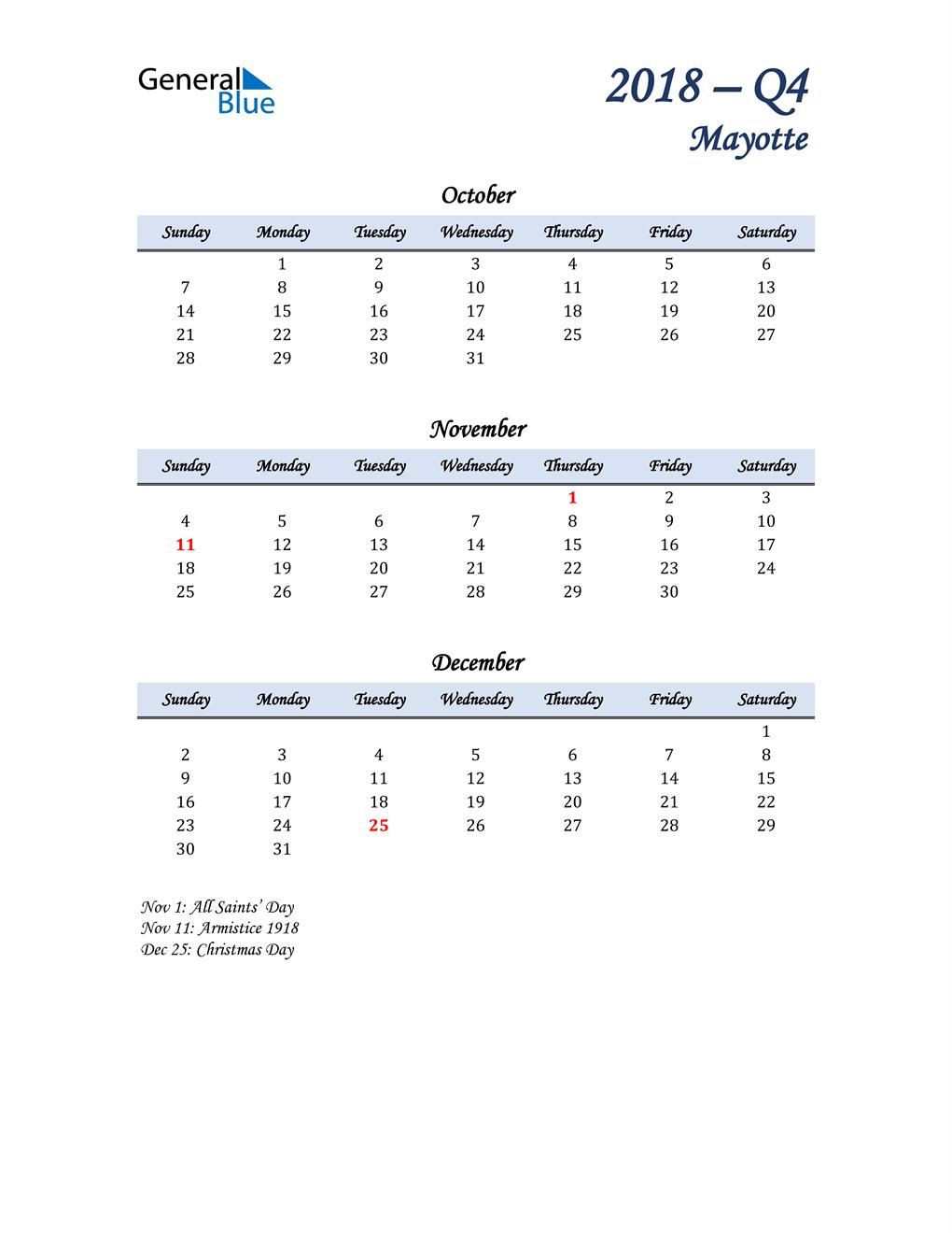 October, November, and December Calendar for Mayotte