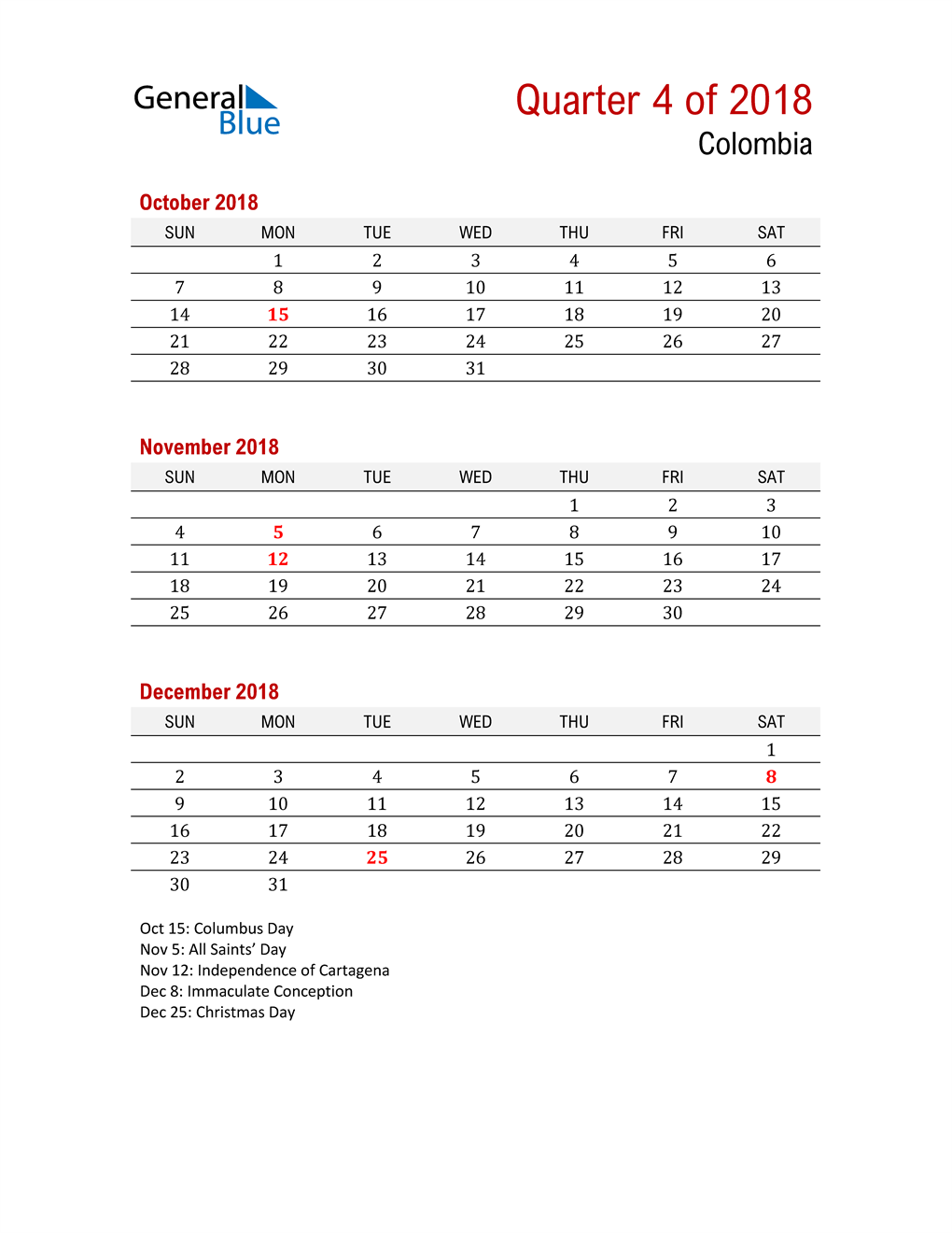 Printable Three Month Calendar for Colombia