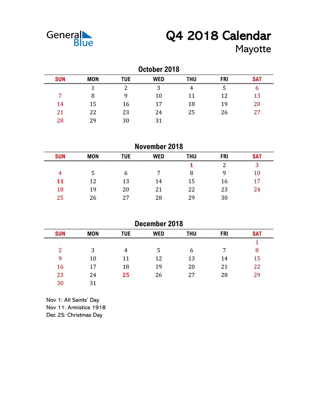 2018 Q4 Calendar with Holidays List