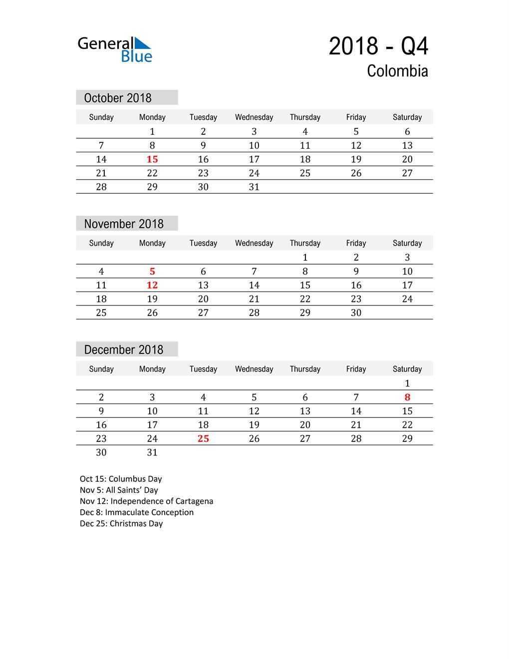 Colombia Quarter 4 2018 Calendar