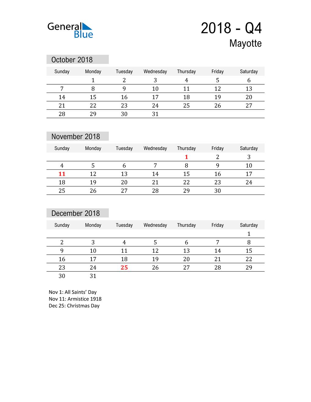 Mayotte Quarter 4 2018 Calendar