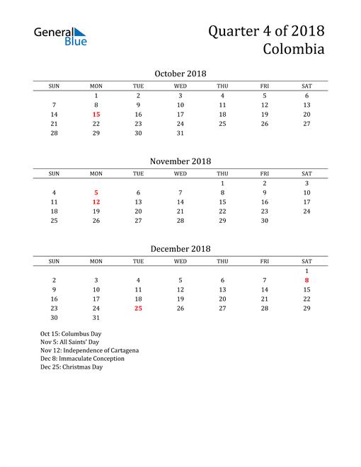 2018 Colombia Quarterly Calendar