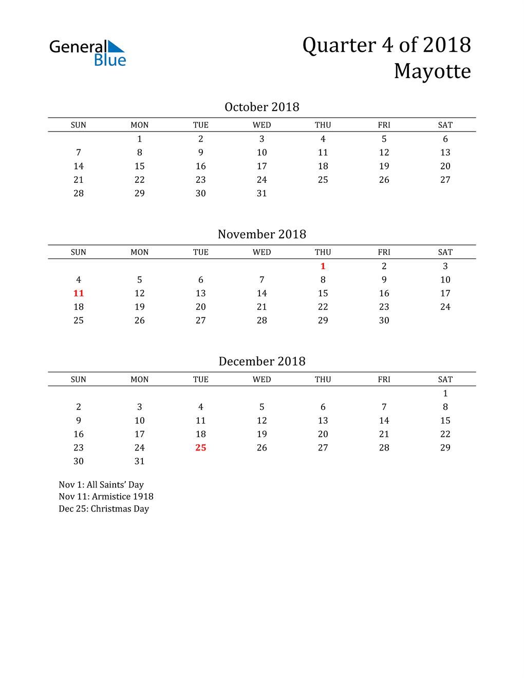 2018 Mayotte Quarterly Calendar