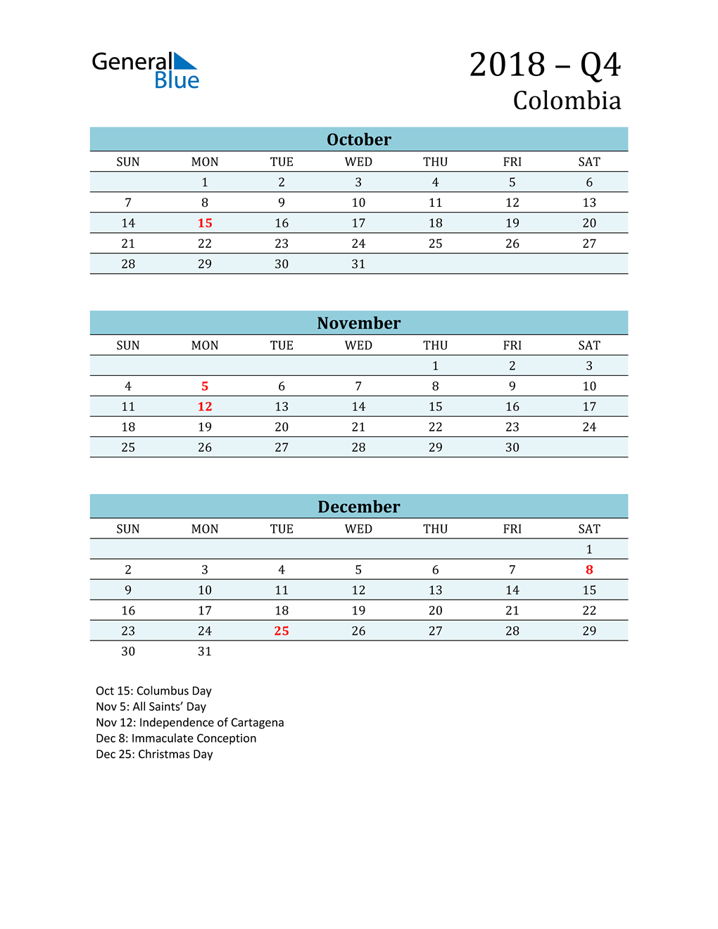 Three-Month Planner for Q4 2018 with Holidays