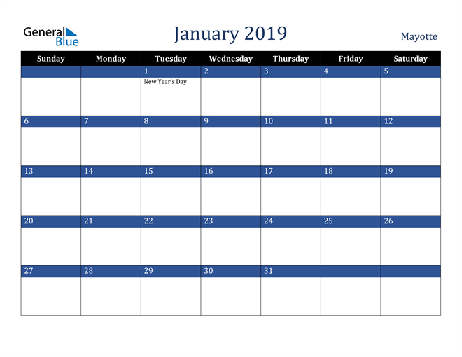 Image of January 2019 Stylish Dark Blue Calendar in PDF, Word and Excel Calendar